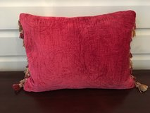 "Red Decorative Throw Pillow with Tassles - 12"" x 18"" in Plainfield, Illinois"