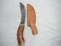 "Hand made carbonized knife with stag handle and leather sheath, 6 1/2"" blade in Yucca Valley, California"