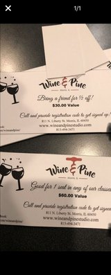 wine and pine gift certificate in Oswego, Illinois