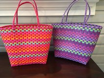 2 Plastic Woven Tote Bags - Pink and Purple in Bolingbrook, Illinois