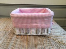 3 Pottery Barn Kids White Wicker Sabrina Baskets with Pink Liners in St. Charles, Illinois