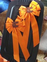 2 Trick or Treat Orange Faux Velvet 22x10 Porch Banister Decorative BOWS in Orland Park, Illinois