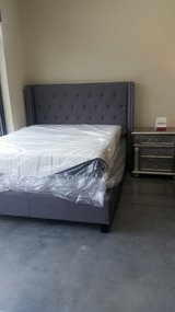 Gray Nail Head Queen Size Upholstered Bed in Beaufort, South Carolina