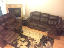 leather/micro fiber couch and love seat w/ endtables and rug in Byron, Georgia