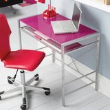 Computer desk Colored tempered glass-top Silver powder coated metal frame Tension bars for extra... in Pearland, Texas