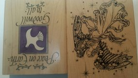 Rubber stamps Christmas angel and saying in Orland Park, Illinois