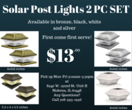 Solar post lights 2pc set for lawn, garden, patio, yard in Tinley Park, Illinois