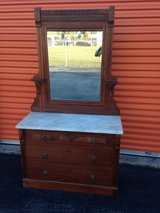 Walnut Victorian Marble Top Beveled Mirror Dresser in Camp Lejeune, North Carolina