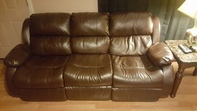 Leather couch and loveseat with tables and lamps in Fort Riley, Kansas