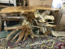 Root wood console table in Okinawa, Japan