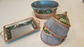 Hand-painted Galvanized Serving Set in Beaufort, South Carolina