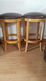 NEW-TWO BROWN LEATHER NAIL HEAD TRIM SWIVEL BAR STOOLS in Schaumburg, Illinois