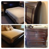 King Size sleigh storage bed frame & nightstand. in Naperville, Illinois