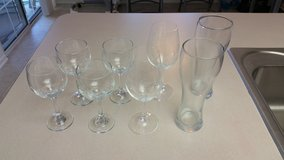 4 champagne glasses, 2 wine glasses, 2 beer glasses in Travis AFB, California