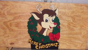 Rudolph in holly in Kingwood, Texas