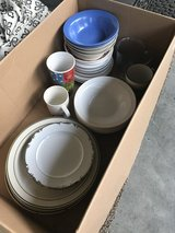 Mismatched dishes in Fort Polk, Louisiana