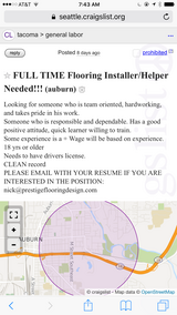 FULL TIME FLOORING INSTALLER/HELPER NEEDED! in Tacoma, Washington
