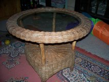 Wicker glass top patio table/or reasonable offer in Travis AFB, California