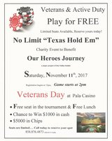 Active Duty/Veterans Play For FREE!!  Texas Hold'em Poker Tournament @ Pala Casino on Veterans D... in Camp Pendleton, California