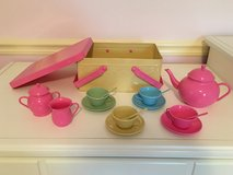 Metal Pastel Picnic Basket with Tea Service for 4 in Bolingbrook, Illinois