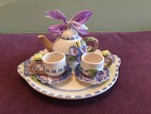 Porcelain Decorative Tea Set - 6 Pieces, Purple and Blue in Glendale Heights, Illinois