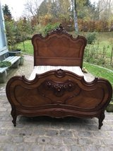 beautiful antique solid wood bed from France in Ramstein, Germany