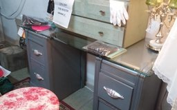 Glass Top Antique Desk / Vanity with Stool in Leesville, Louisiana
