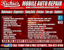 RICHIE'S MOBILE AUTO REPAIR FULLY LICENSED AND CERTIFIED in Camp Pendleton, California