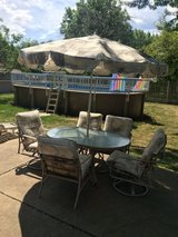 Patio set 7 pieces table, chairs, umbrella in Joliet, Illinois