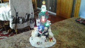 Cat Christmas tree with lights in Fort Campbell, Kentucky