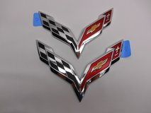 New C7 Corvette Chrome or Black Bumper Emblem Set 2014-2018 in Aurora, Illinois