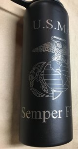 Laser engraved 40 oz Hydroflask style bottle in Quantico, Virginia