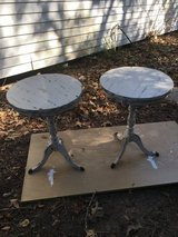 """2 round end tables. 18"""" round. 24 1/2 tall. White stressed in Kingwood, Texas"""