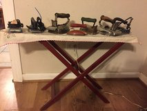 Vintage child's iron board and irons in Spring, Texas