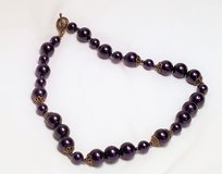 "Purple Lavender Plum Plastic Bead 18"" Necklace Pendant Statement Chain Strand in Houston, Texas"