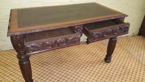 Carved Oak Desk with original Leather top Free Delivery Others Available in Lakenheath, UK