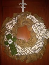 Burlap wreath with holder in Kingwood, Texas