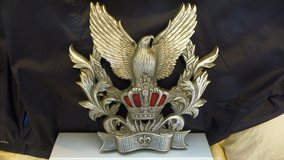 Rare antique cast 'EAGLE on Crown' wall plaque in Okinawa, Japan