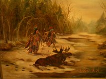 Native American Moose Hunt- Oil Painting in Spring, Texas