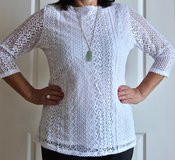 NEW Women's White Lace Top. Size L. in Okinawa, Japan