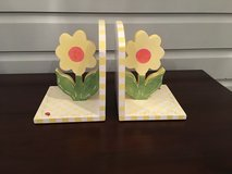 Pair of Decorative Wooden Bookends for Girl's Room - Yellow Flowers in Plainfield, Illinois