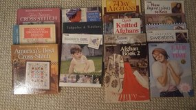 Various knitting and cross stitch books in Naperville, Illinois
