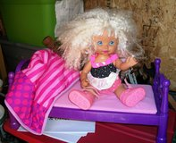 Curly  Head Doll comes with Pink Bed in Alamogordo, New Mexico