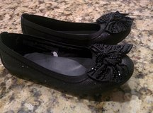 Girls Black Sparkle & Beaded Bow Dress Shoe Size 2 in Oswego, Illinois