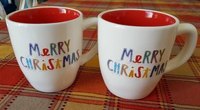 Rae Dunn 2pc Merry Christmas Mugs in Travis AFB, California