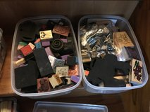 4 containers of stamps and ink in Okinawa, Japan