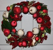 Large Red and Gold Christmas Wreath in Okinawa, Japan