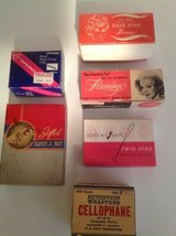Vintage boxes of hair supplies in Chicago, Illinois