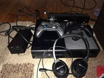 Xbox one with two controllers, all cords, and turtle beach headsets in Beaufort, South Carolina