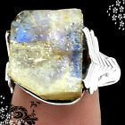 New - Natural Moonstone Rough Ring - Size 8 in Alamogordo, New Mexico